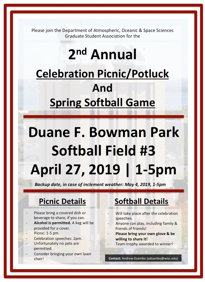 spring picnic/softball game info poster