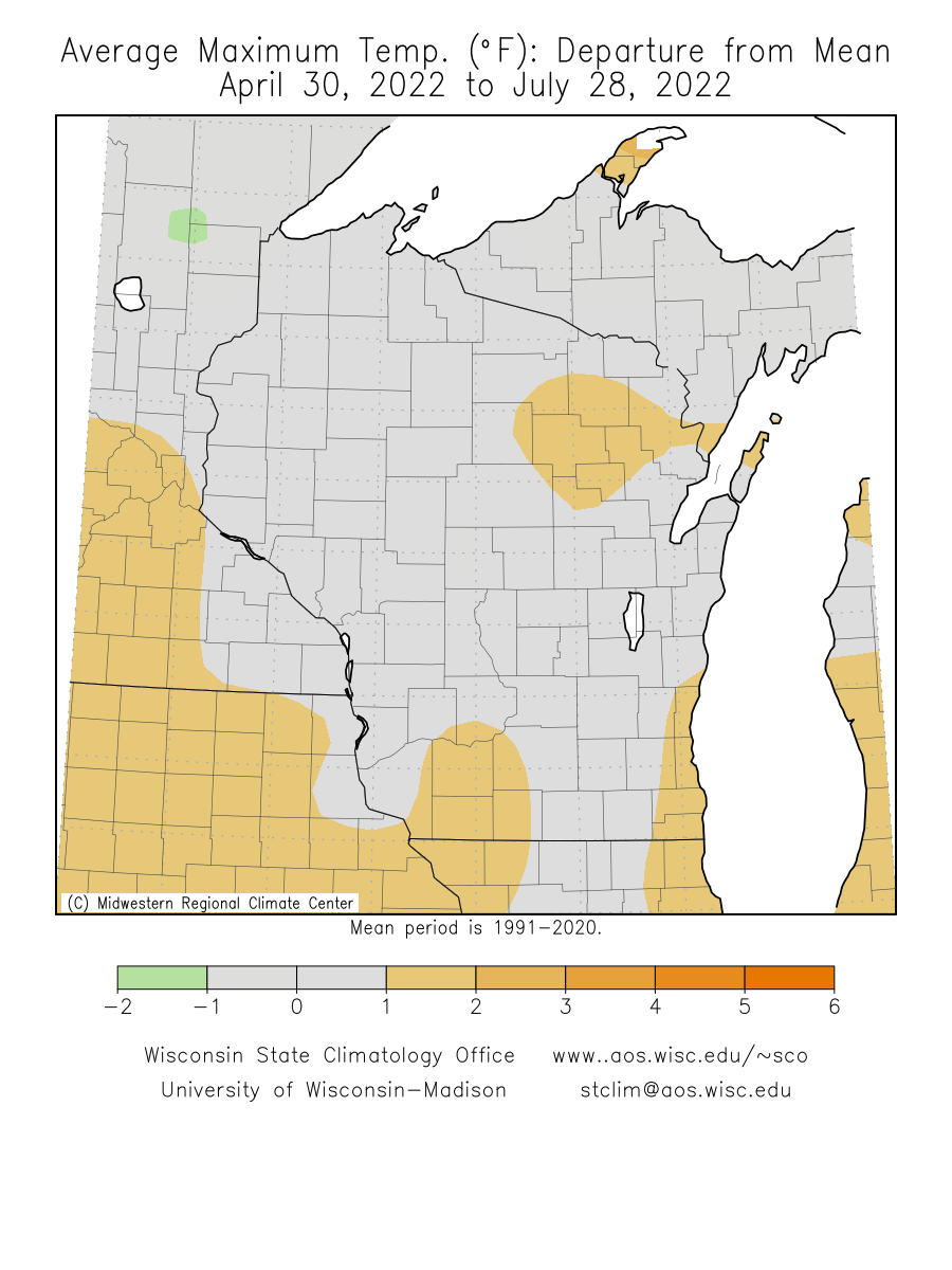 Wisconsin Climate Watch Wisconsin State Climatology Office - Annual High And Low Temperatures Us Map