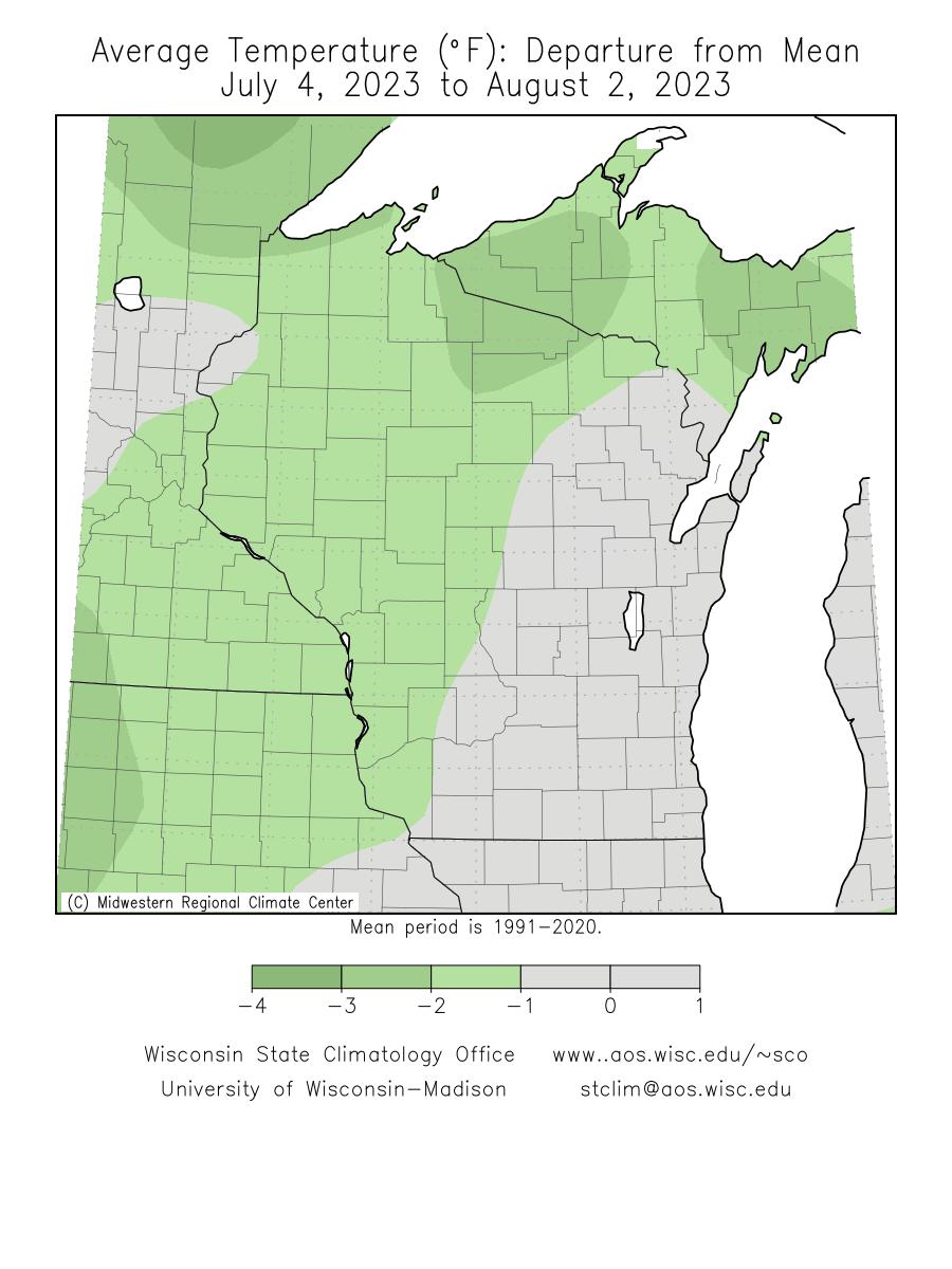 Precipitation Departure Inches Mean Temperature Departure F
